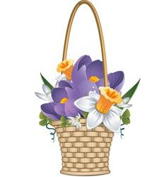 basket flowers vector image