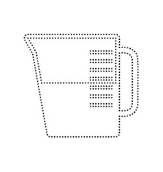beaker sign black dotted icon on white vector image