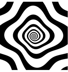 Black and white spiral with distortion vector