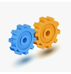 Blue and orange gears vector
