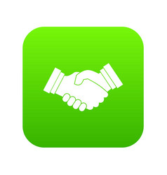 Business handshake icon digital green vector