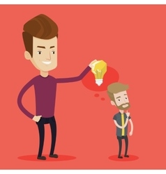 Businessman giving idea light bulb to his partner vector image