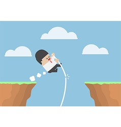 Businessman pole vault across the cliff vector