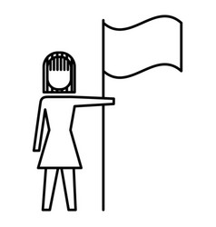 businesswoman holding flag in pole achievement vector image