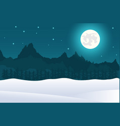 christmas landscape background of full moon and mo vector image
