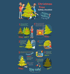 Christmas tree safety cheklist instruction vector