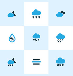 Climate icons colored set with night overcast vector