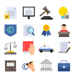 Copyright legal regulations business icons of law vector