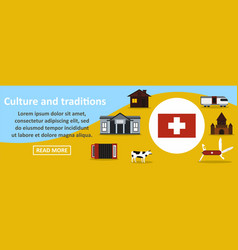 Culture and traditions switzerland banner vector