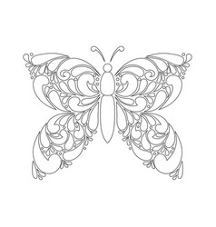 Cute cartoon butterfly with ornament background vector