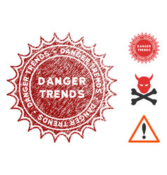 danger trends stamp with scratched effect vector image