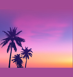 Dark palm trees silhouettes on light pink sunrise vector