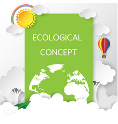 eco card with paper art style vector image