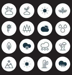 ecology icons set collection of sunshine sun vector image