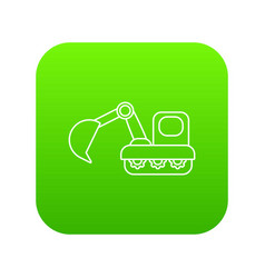 Excavator icon green vector