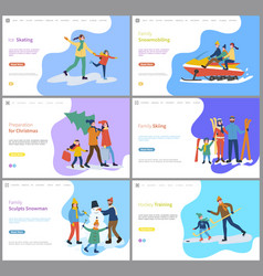 family skiing snowmobiling of father and mother vector image