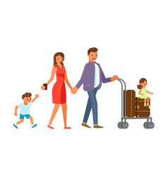 family with suitcases vector image