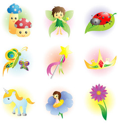 Fantasy fairy icons vector