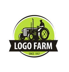 Farm tractor logo agriculture farming vector