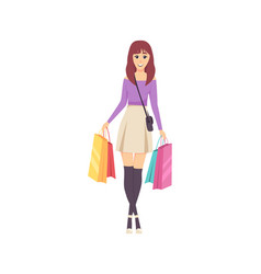 female lady walking with bags and handbag vector image