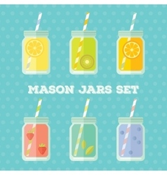 Flat set of mason jar vector