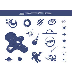 Flat space icons set vector