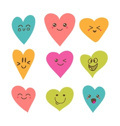 Funny happy smiley hearts Cute cartoon characters vector image