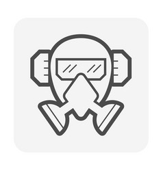 Gas mask and goggle and earmuff or safety vector