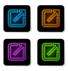 glowing neon open in new window icon isolated on vector image