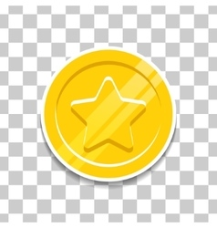Golden coin with star icon for game vector