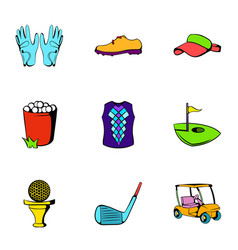 golf ball icons set cartoon style vector image vector image