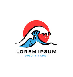 great wave hokusai logo vector image