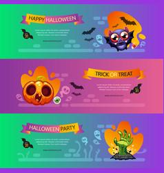 halloween horizontal banners vibrant set vector image