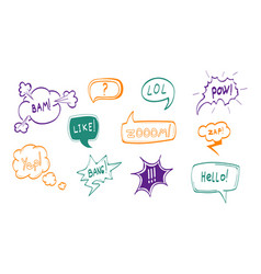 hand drawn comic speech bubbles thin line icon set vector image