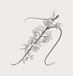 Hand drawn flowered n monogram and logo vector