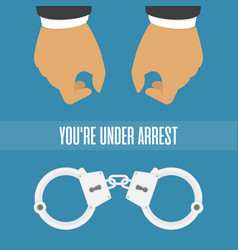 Handcuffs on his hands vector