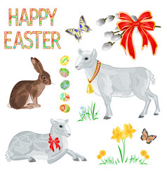 Happy easter decoration lambs hare easter eggs vector