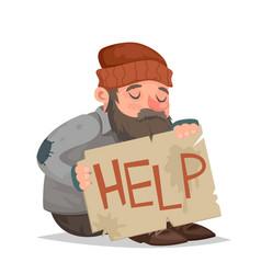 Homeless bum help cardboard paper sheet cartoon vector
