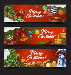 horizontal banners for 2018 new year and xmas vector image