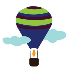 hot air balloon with a brown basket and blue vector image