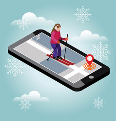 Isometric woman skiing searching for cross vector