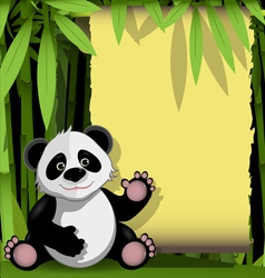 Jolly panda in a bamboo forest vector