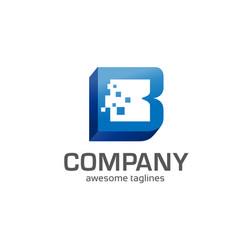 letter b 3d box concept vector image