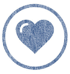 love heart rounded fabric textured icon vector image