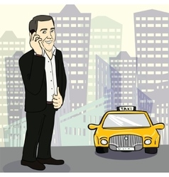 Man in suit catching taxi on the street vector image