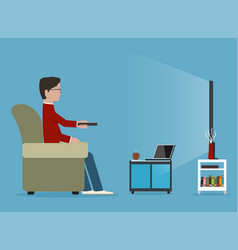 Man watches tv on sofa before journal table vector