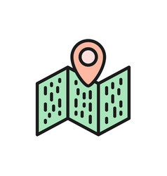 map with pointer navigation location pin flat vector image