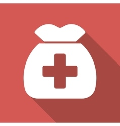 Medical Capital Flat Square Icon with Long Shadow vector image
