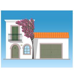 Mediterranean house with bougainvillea tree vector