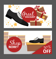 Men autumn shoes horizontal flyers vector